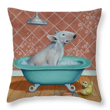 Throw Pillow featuring the painting Rosie In The Bliss Bubbles by Cynthia House