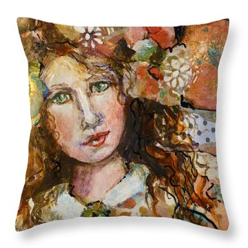 Throw Pillow featuring the mixed media Rosie by P Maure Bausch