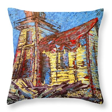 Ross Island Lighthouse Throw Pillow