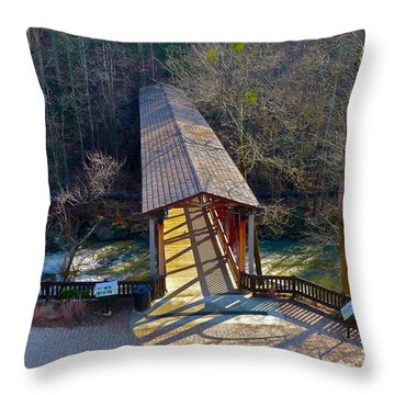 Roswell Covered Bridge Throw Pillow