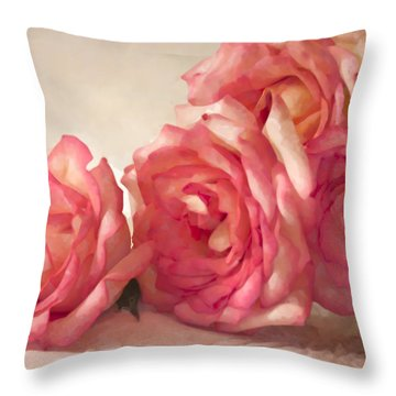 Throw Pillow featuring the photograph Rosy Elegance Digital Watercolor by Sandra Foster