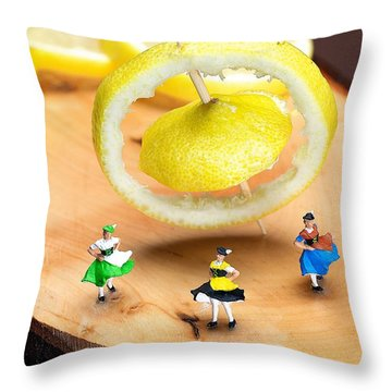 Throw Pillow featuring the photograph Rotating Dancers And Lemon Gyroscope Food Physics by Paul Ge
