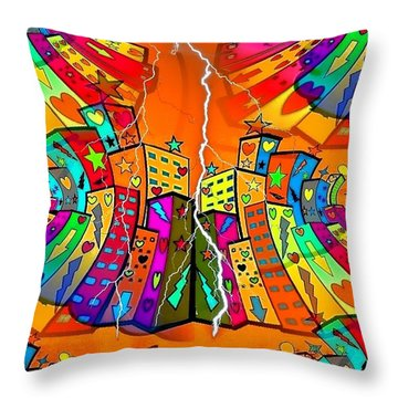 Throw Pillow featuring the digital art Rotating World By Nico Bielow by Nico Bielow