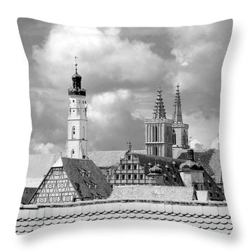 Rothenburg Towers In Black And White Throw Pillow by Corinne Rhode