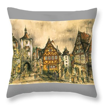 Rothenburg Bavaria Germany - Romantic Watercolor Throw Pillow