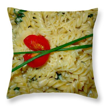 Rotini Alfredo Throw Pillow by Karon Melillo DeVega