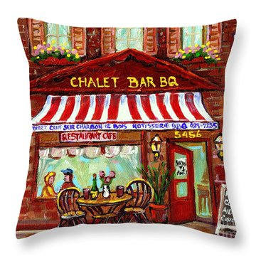 Rotisserie Le Chalet Bbq Restaurant Paintings Storefronts Street Scenes Diners Montreal Art Cspandau Throw Pillow