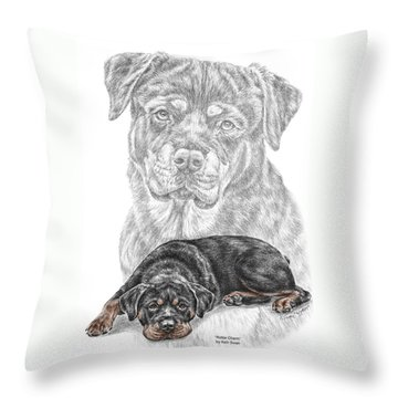 Throw Pillow featuring the drawing Rottie Charm - Rottweiler Dog Print With Color by Kelli Swan