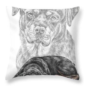 Rottie Charm - Rottweiler Dog Print With Color Throw Pillow