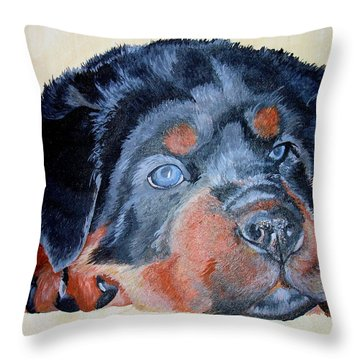 Throw Pillow featuring the painting Rottweiler Puppy Portrait by Tracey Harrington-Simpson