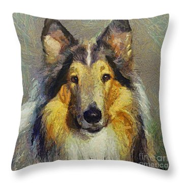 Rough Collie Throw Pillow by Dragica  Micki Fortuna