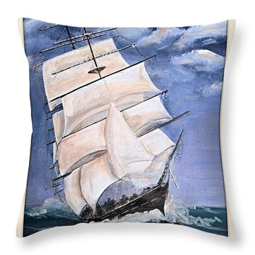 Rough Seas Throw Pillow by Catherine Swerediuk