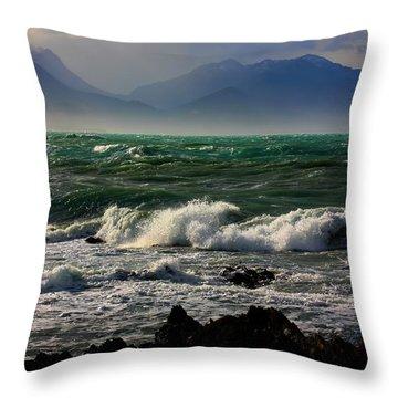 Throw Pillow featuring the photograph Rough Seas Kaikoura New Zealand by Amanda Stadther