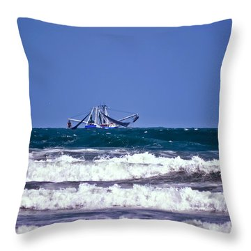 Throw Pillow featuring the photograph Rough Seas Shrimping by DigiArt Diaries by Vicky B Fuller