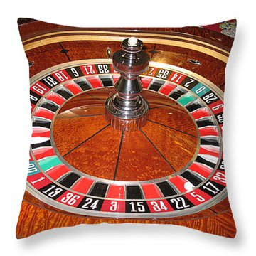Roulette Wheel And Chips Throw Pillow