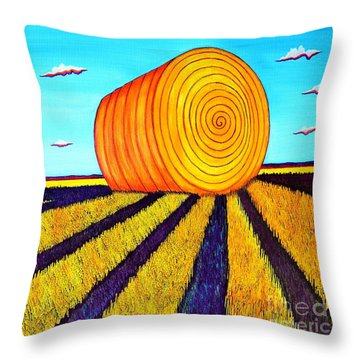 Throw Pillow featuring the painting Round Bale by Joseph J Stevens