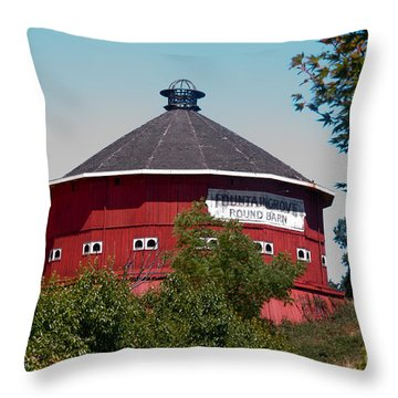 Round Barn Named Throw Pillow