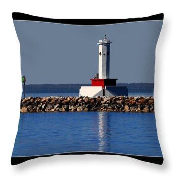 Round Island Passage Lighthouse Throw Pillow