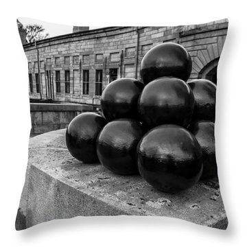 Round Shot At The Old Fort Throw Pillow