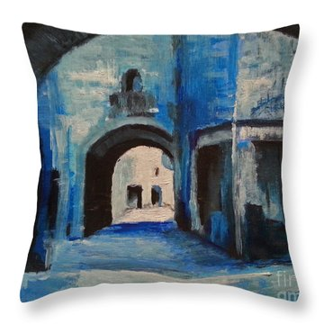 Throw Pillow featuring the painting Round The Corner by Maja Sokolowska