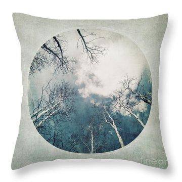round treetops III Throw Pillow by Priska Wettstein