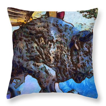 Round Up Market Buffalo Throw Pillow by Barbara Snyder