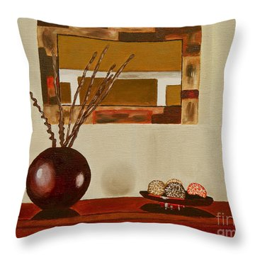 Throw Pillow featuring the painting Round Vase by Laura Forde