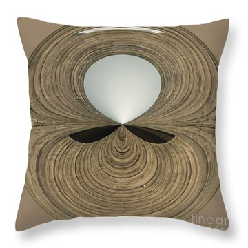 Round Wood Throw Pillow by Anne Gilbert
