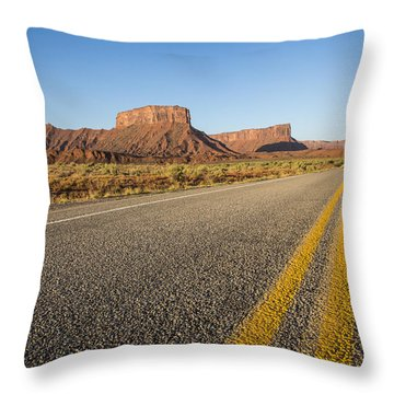 Route 128 Near Castle Valley Throw Pillow by Adam Romanowicz
