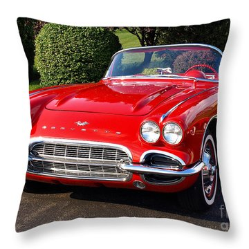 Route 66 - 1961 Corvette Throw Pillow