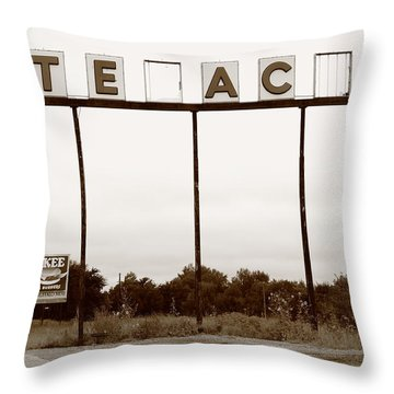 Route 66 - Abandoned Texaco Station Throw Pillow by Frank Romeo