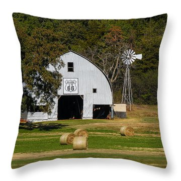 Route 66 Barn Throw Pillow by Doug Long