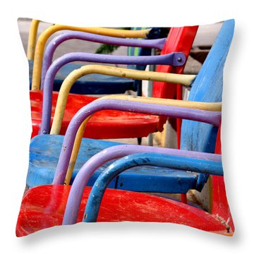 Route 66 Chairs Throw Pillow by Art Block Collections