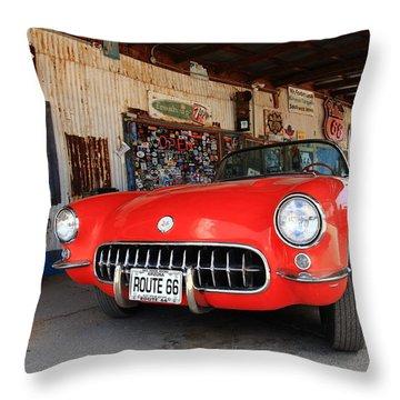Route 66 Corvette Throw Pillow