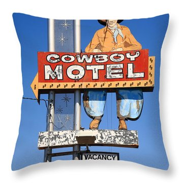 Route 66 - Cowboy Motel Throw Pillow