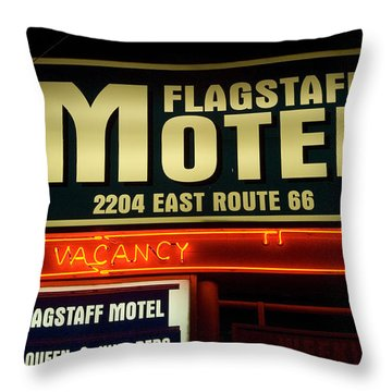 Route 66 Flagstaff Motel Throw Pillow by Bob Christopher