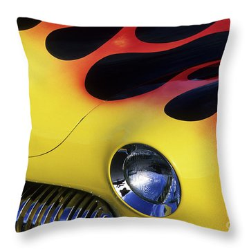 Route 66 Flaming Rod Throw Pillow by Bob Christopher