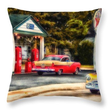 Route 66 Historic Texaco Gas Station Throw Pillow by Thomas Woolworth