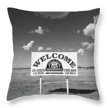 Route 66 - Midpoint Sign Throw Pillow by Frank Romeo