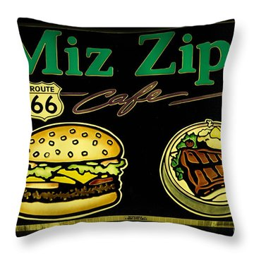 Route 66 Miz Zips Throw Pillow by Bob Christopher