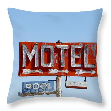 Route 66 Motel Sign Throw Pillow by Art Block Collections