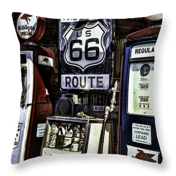 Throw Pillow featuring the painting Route 66 by Muhie Kanawati