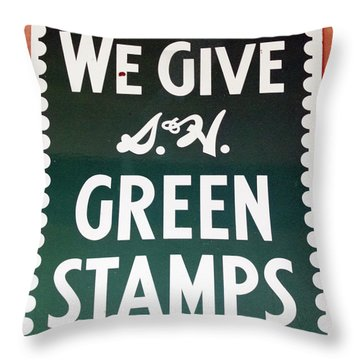 Route 66 Odell Il Gas Station Green Stamps Signage Throw Pillow by Thomas Woolworth