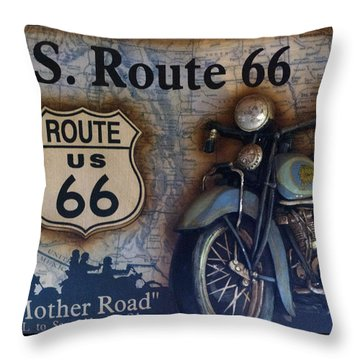 Route 66 Odell Il Gas Station Motorcycle Signage Throw Pillow by Thomas Woolworth