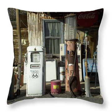 Route 66 Pumps Throw Pillow by Bob Christopher