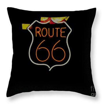 Route 66 Revisited Throw Pillow by Kelly Awad