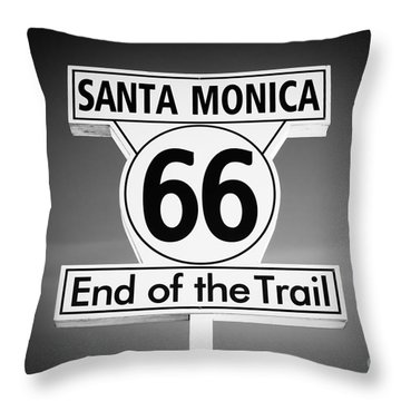 Route 66 Sign In Santa Monica In Black And White Throw Pillow by Paul Velgos