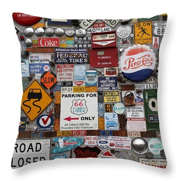 Route 66 Signs Throw Pillow by Lynn Sprowl