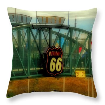 Route 66 Polaroid - Large Format - No Transfer Border Throw Pillow