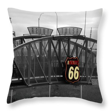 Route 66 Tulsa Sign Bw Splash Throw Pillow